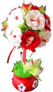 Дерево из органзы с розами