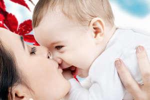Mom and joyful baby
