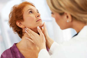 Examination of the lymph nodes at the doctor