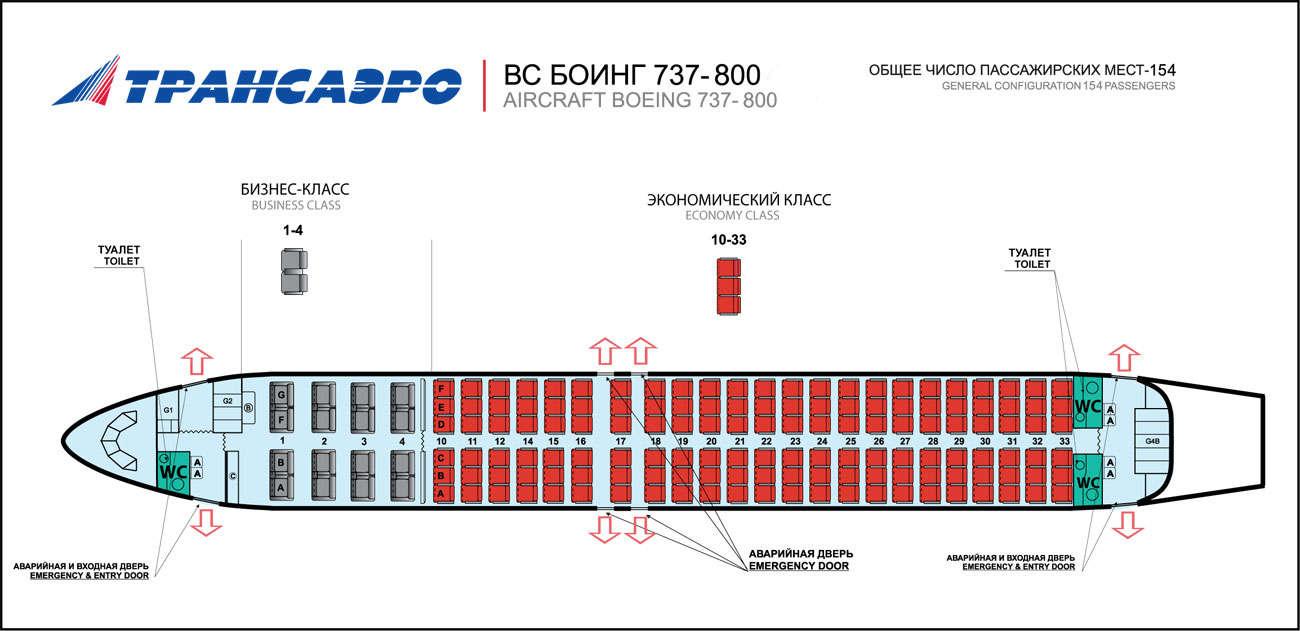 Боинг 737 800 схема посадочных мест