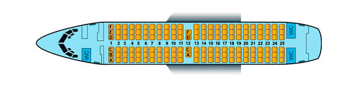 Scheme of the aircraft with 148 seats