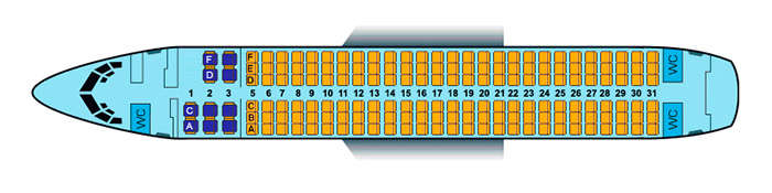 Scheme of the aircraft at 172 seats