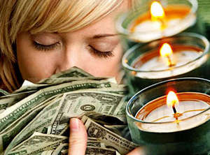 Girl, money and candles