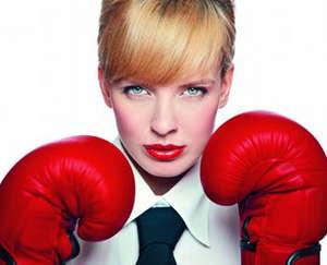 Girl in red boxing gloves