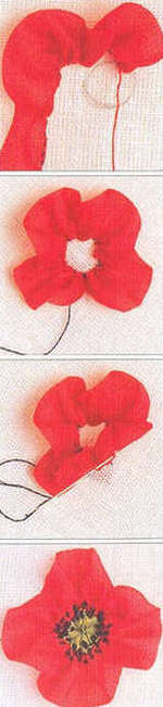 The process of embroidering poppies