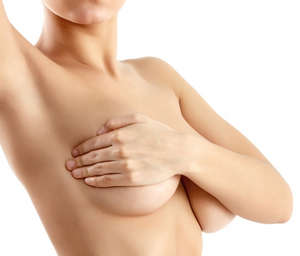 Girl covers her breasts