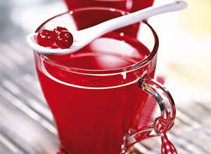Cranberry juice in a glass