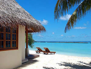Hut on the shores of the Maldives