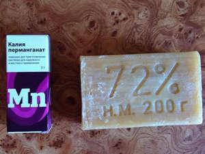 Potassium permanganate and laundry soap