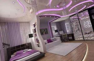 Розовая подсветка комнаты