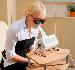 Girl in protective glasses