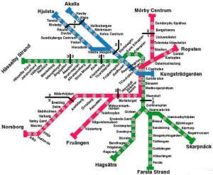 Metro map of Stockholm