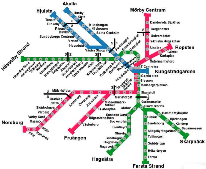 Карта метро Стокгольма