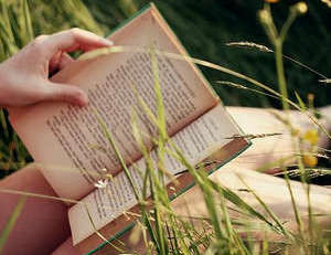 Reading a book in nature