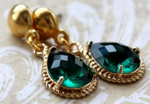 Earrings with Emerald
