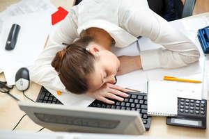 Girl sleeping in the workplace