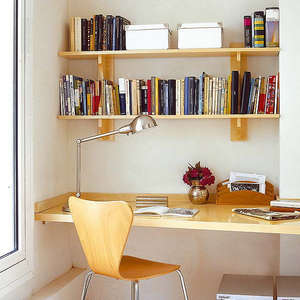 Shelves above the table
