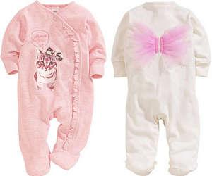 Белый и розовый слипы для новорожденного