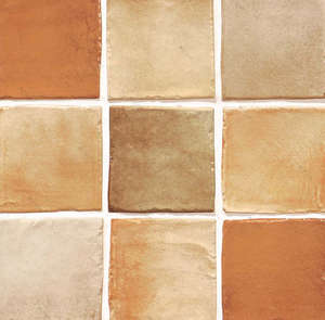 Ceramic tile on a synthetic mixture