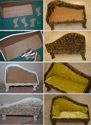 Создание дивана из картона