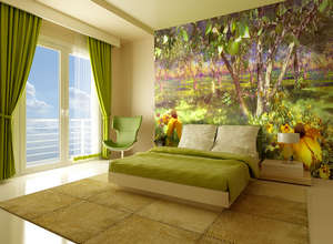 Wall mural in the bedroom