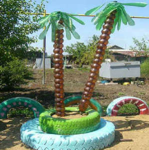 Palm tree from plastic bottles