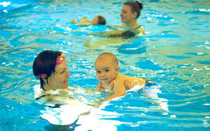 Moms with children in the pool