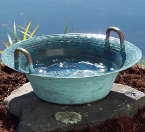 Bowl of water is on the stone