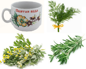 Holy water, wormwood, rosemary and dill
