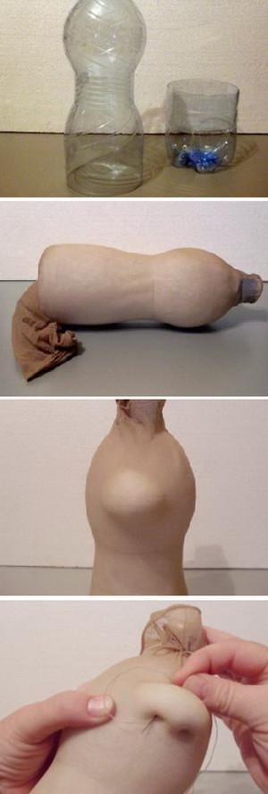 Изготовление куклы из олготок и пластиковой бутылки