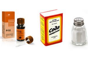 Iodine, salt and soda