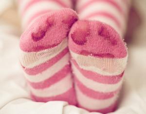 Feet in warm socks