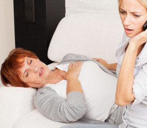 An elderly woman became ill
