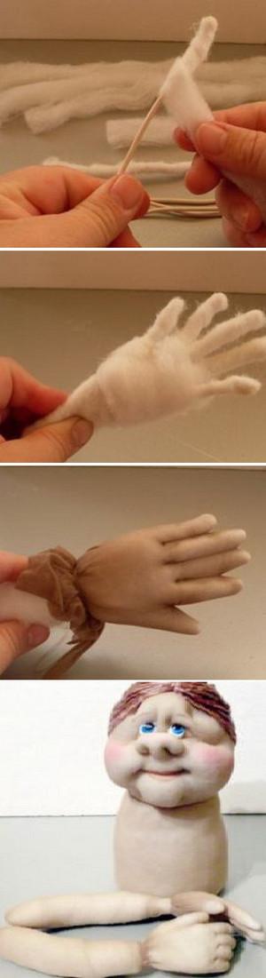 Пришивание ручек к кукле