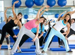 Girls do aerobics