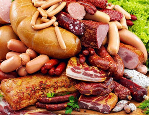 Different sausages and meat products