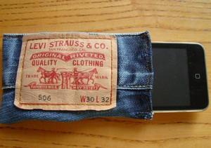 Phone in a denim bag