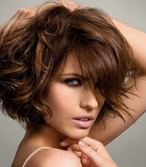 Girl with curly hair and short hair