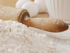 Flour for pancakes and rolling pin