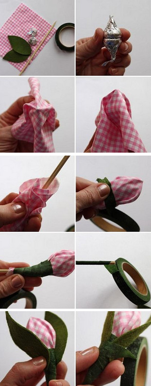 Step by step making the bud with candy