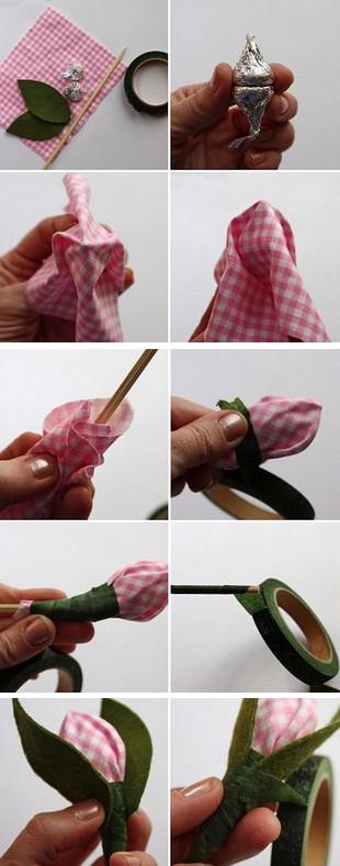 Пошаговое изготовление бутона с конфеткой