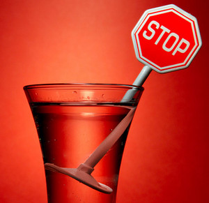 Stop icon in a glass with a cocktail