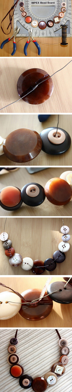 Button necklace making