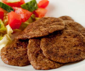 Liver cutlets on chopped vegetables