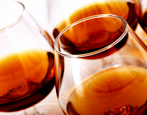 Wine glasses with cognac