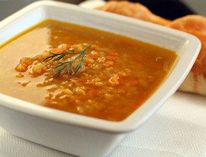 Lentil soup in a rectangular plate