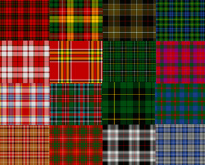 Samples of different fabrics for the Scottish skirt
