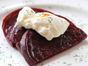 Two pieces of beets with mayonnaise
