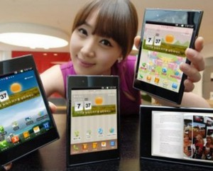 Chinese woman shows tablet computers