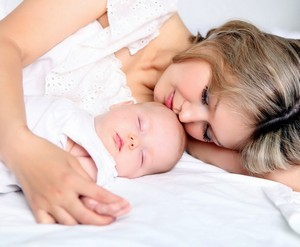 Mom and baby are sleeping